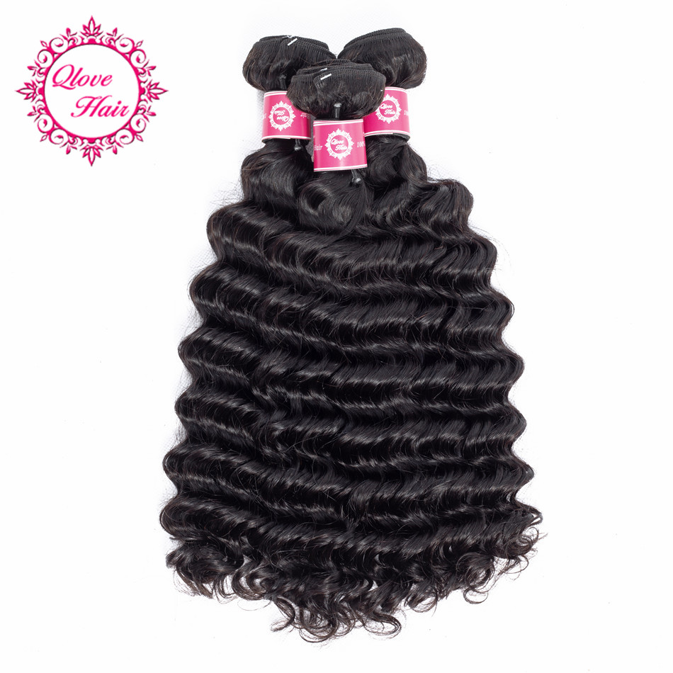 QLove Hair 3 Bundles Deep Wave 100% Human Hair Pre-colored India Hair Weave Bundles In Extension Natural Color Non Remy