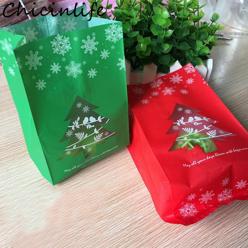 Chicinlife 10Pcs/bag Christmas Tree Plastic Candy Cookies Cake Gift Bag Packaging Supply Xmas Party New Year Home Decor Supplies
