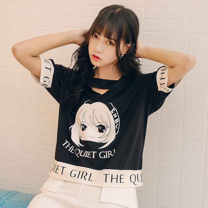 NiceMix Womens T-shirts Japan Harajuku Ladies Ulzzang Summer Loose Cartoon Printed T-shirt Female Style Wild Student T
