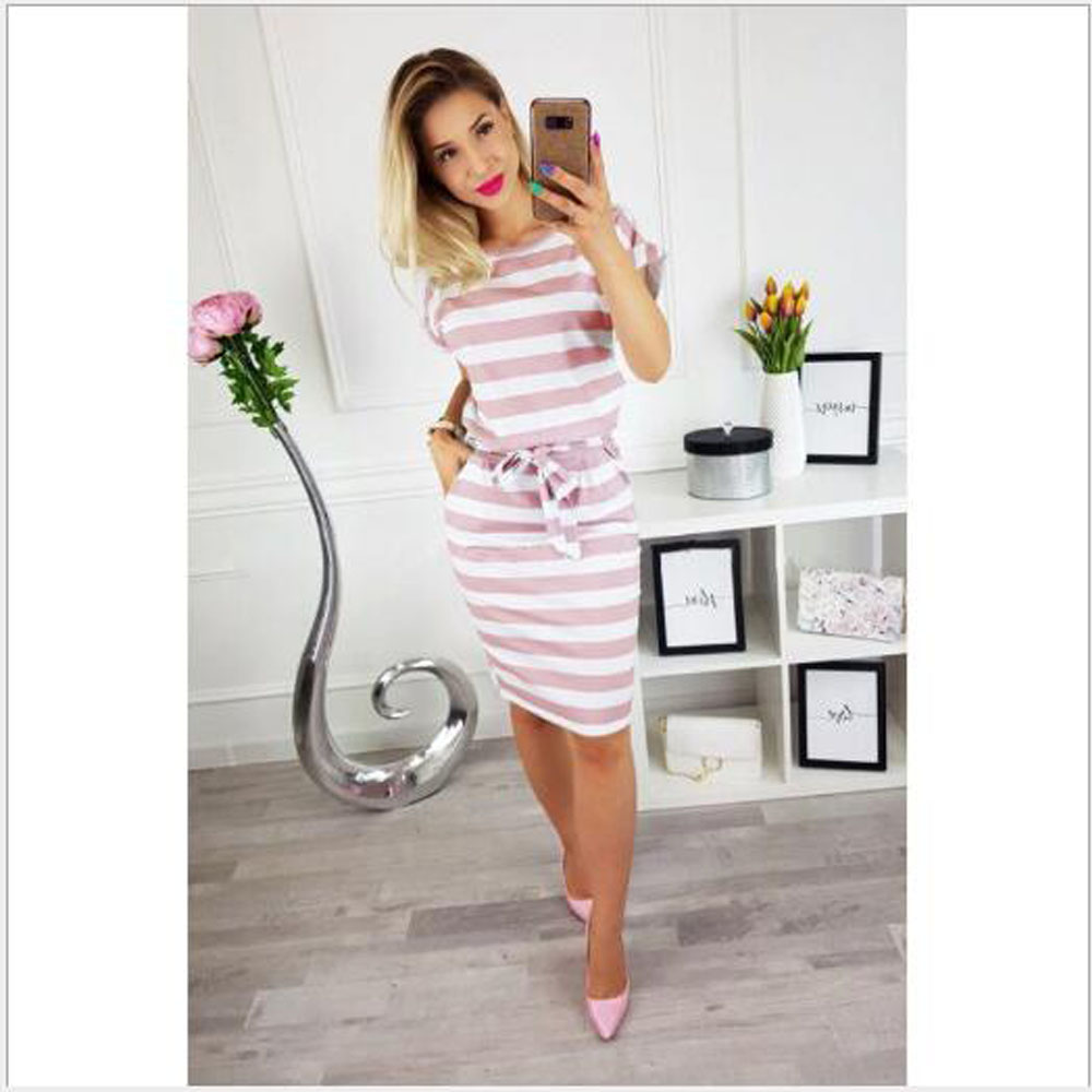 2019 Summer Fashion Round Neck Short sleeved Dress Black And White Striped Dresses Casual Office Lady Slim Dress Dropshipping in Dresses from Women 39 s Clothing