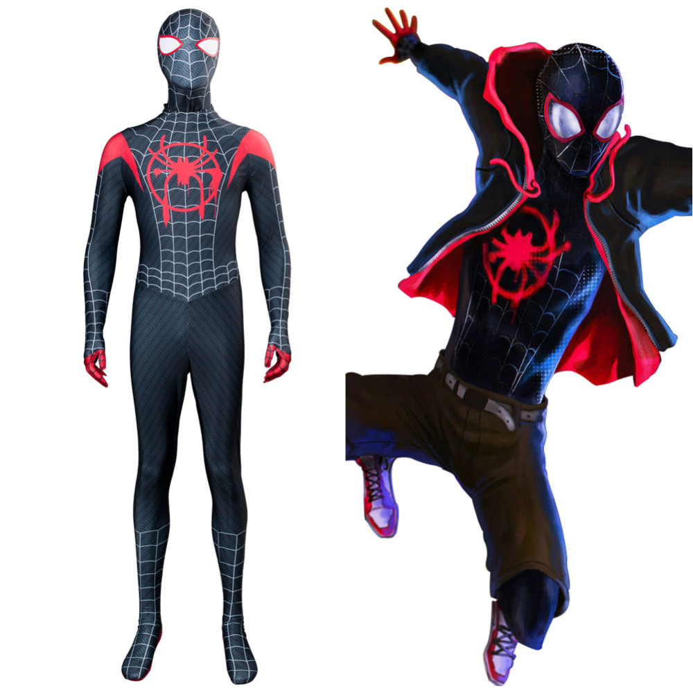 Spider-Man Into the Spider-Verse Spider Boy Miles Morales Cosplay Costume Jumpsuit Halloween Costumes Tailor Made