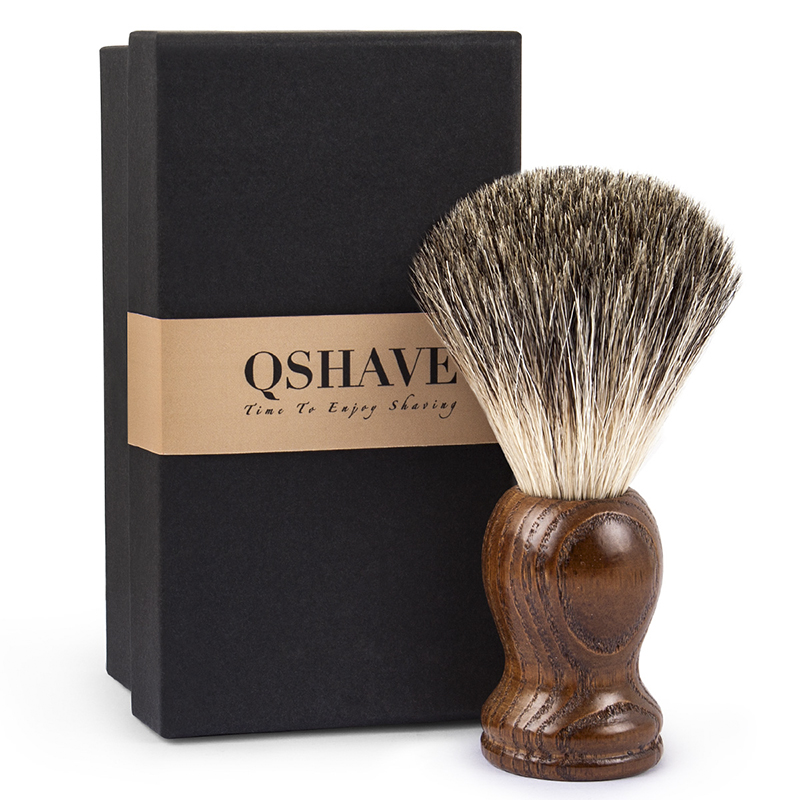 Qshave Man Pure Badger Hair Shaving Brush Old Tree Wood Color for Razor Edge Safety Straight Classic Safety Razor 11cm x 5cm mens badger shaving brush stand razor holder and double head safety straight razor