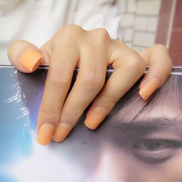 24Pcs Matte Style Acrylic False Nails Tips Clear Orange Fake Nail ...