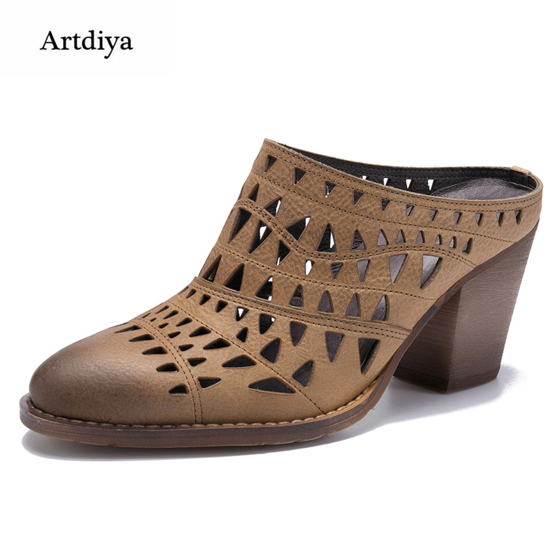 Artdiya Thick Heels High Heels Genuine Leather Slippers 2018 Summer New Cowhide Hollow Handmade Women Sandals T18206-6 2018 new high end leather comfortable feet sandals classic sandals handmade leather slippers handmade leather slippers