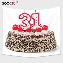 Cutom Гобелены стене, 31st на день рождения Аксессуары торт тридцать один Свечи шоколадным Desert вишни сюрприз события