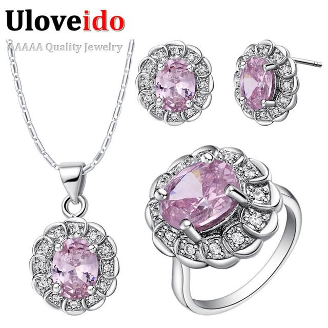 Joyería de la boda establece uloveido con rosa piedras anel anillo del pendiente del collar mujeres cubic zirconia joyería nupcial traje set t538