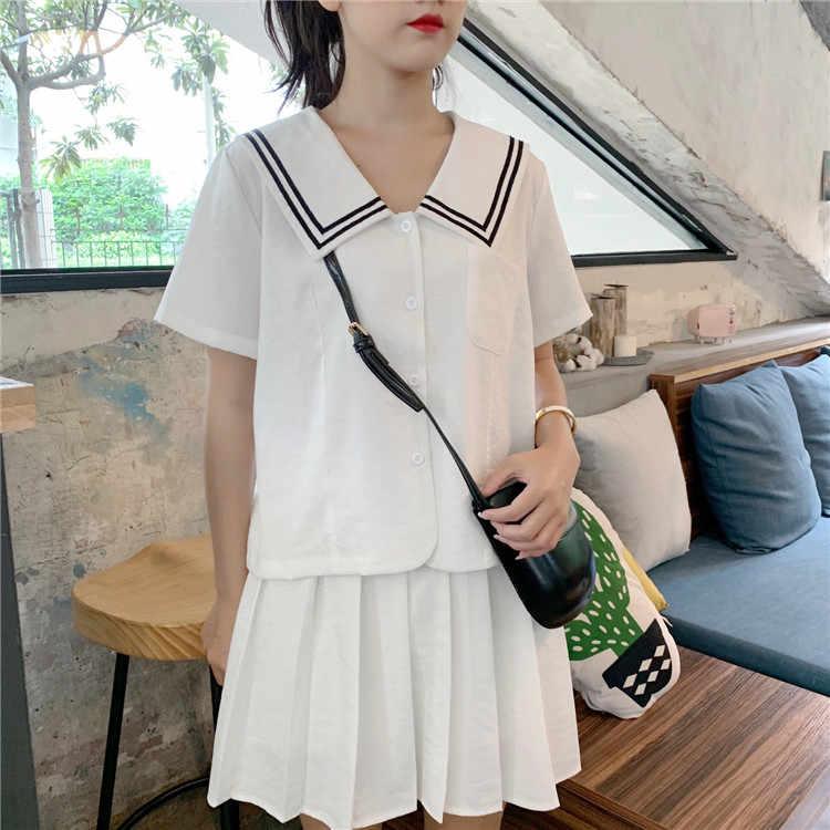 Милый комплект из 2 предметов в японском стиле для девочек: летняя рубашка с короткими рукавами и карманом на груди блузка с матросским воротником и плиссированная юбка