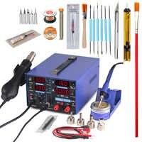 YIHUA 853D soldering station 2A 15V USB power output 3 In 1 station hot air gun solder iron repair soldering station BGA rework
