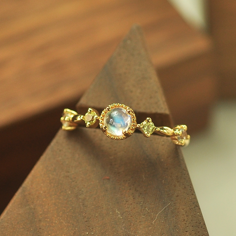 LouLeur 925 Sterling Silver Zircon Moonstone Rings Gold Natural Peridot Moonstone Open Rings For Women Luxurious Jewelry Charms