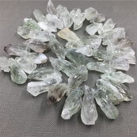 Raw Freeform Green Clear crystal Point beads,mix Green Quartz spike beads for jewelry MY1178