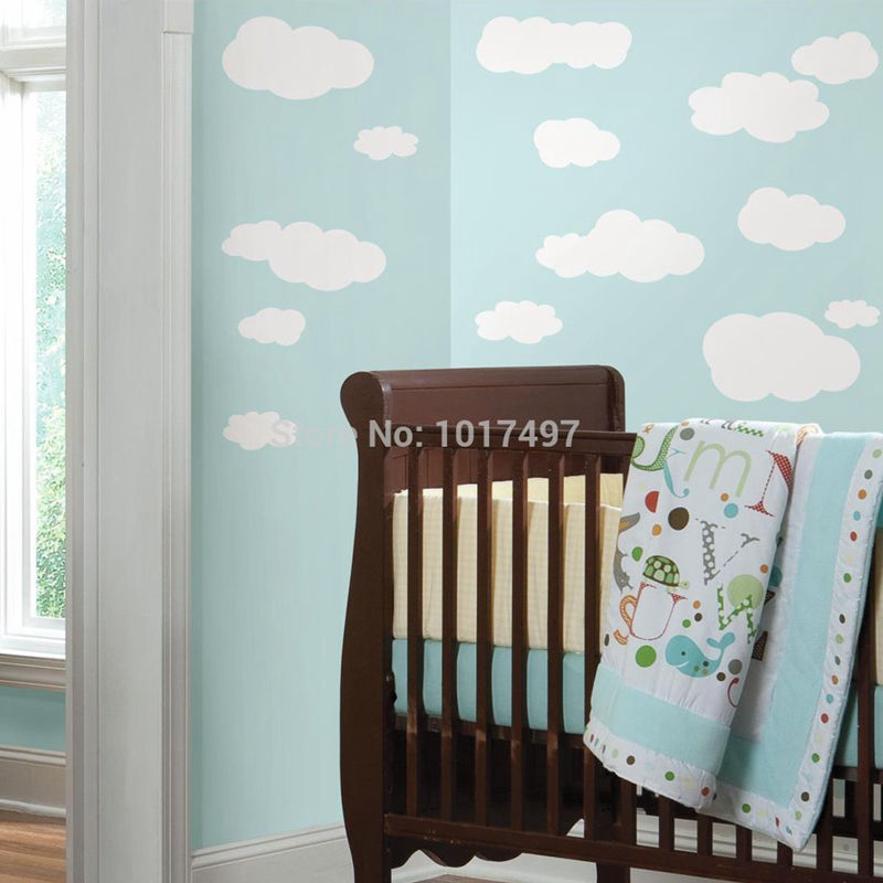Free Shipping Nursery Wall Stickers Star U0026 Cloud Wall Decals,Baby Room  Decoration Vinyl Wall Stickers Decor Cloud,100*50cm In Wall Stickers From  Home ... Part 64