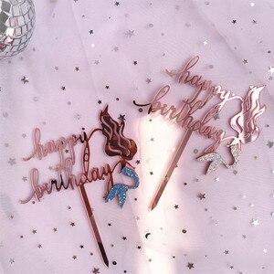 Image 5 - 2019 חדש ורוד זהב בת ים אקריליק עוגת טופר חידוש גליטר שמח יום הולדת עוגת טופר עבור מסיבת יום הולדת עוגת קישוטים