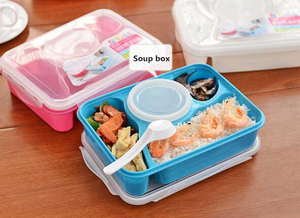 1 St Bento Lunchbox Volledig Verzegelde Voedsel 4-compartment Bento Box Soepkom Met Plastic Scoop Pratos Magnetron Maaltijd (99)