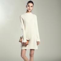 Alta Calidad Otoño Invierno 6 Seis Colores de Punto de Algodón Solid Vestidos de Suéter Mujeres Moda Loose O-neck Pullover Vestido Vestidos