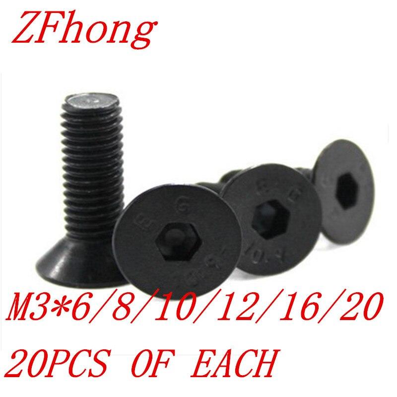 120pcs DIN7991 M3*6/8/10/12/16/20 3mm Grade10.9 black hex socket countersunk head screw kit 20pcs m3 6 m3 x 6mm aluminum anodized hex socket button head screw
