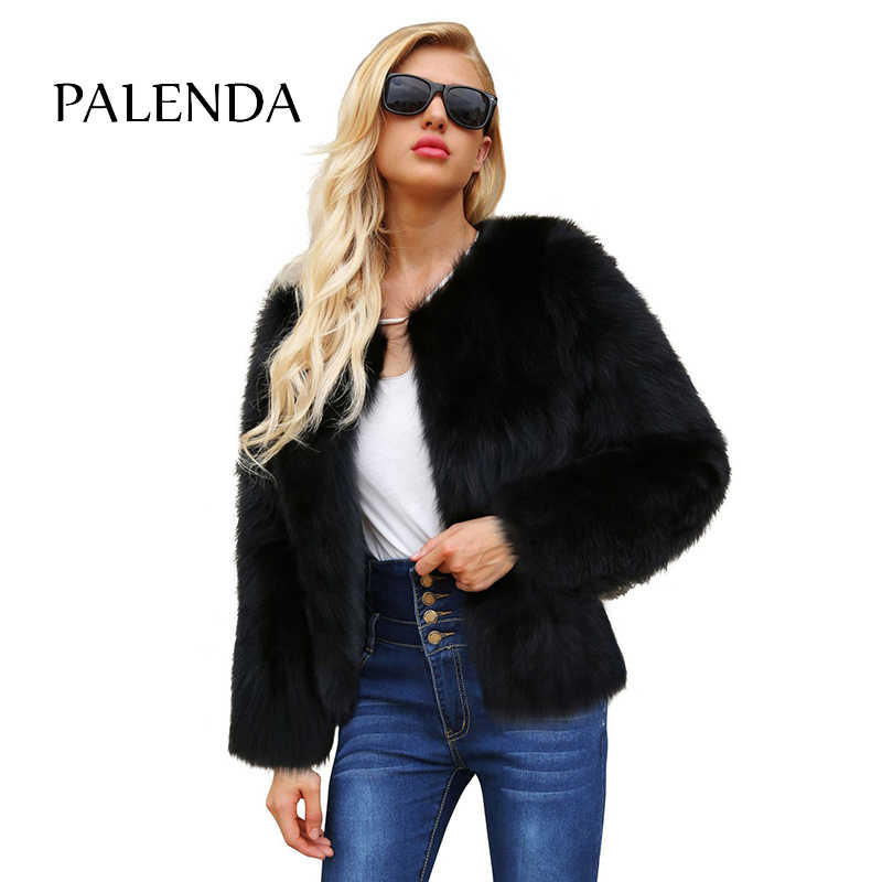 Mujer invierno abrigo de piel de zorro de imitación Chaqueta corta cuello redondo