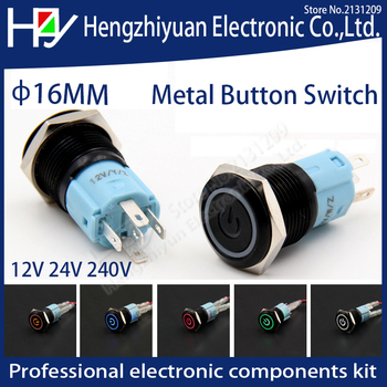 Hzy LED chwilowy 16mm wodoodporny metalowy przełącznik wciskany 3V 5V 12V 24V 48V 110V 220V czerwony zielony pomarańczowy niebieski biały tanie i dobre opinie ETERNALFAR momentary 2 years Ze stopu aluminium ze stopu aluminium Metal button switch Switches piece 0 02kg (0 04lb ) 5cm x 10cm x 10cm (1 97in x 3 94in x 3 94in)