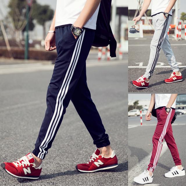 2016 Marca de Moda Para Hombre Chándal Joggers Harem raya Patchwork Yeezy Boost M-5XL pantalones Deportivos Pantalones Casuales Pantalones de Niño