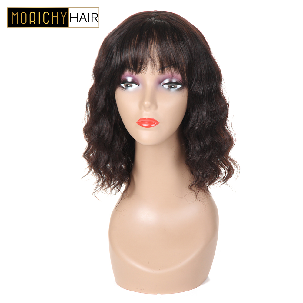 Romantic Sapphire Wig Human Hair Wigs With Adjustable Bangs Short Bob Wigs 14inch Peruvian Ocean Wave Non Remy Hair Wigs Natural Hairline Hair Extensions & Wigs Human Hair Lace Wigs
