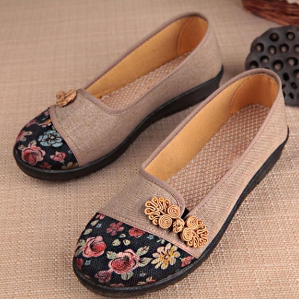 Women Shallow Broken Flower Round Toe Anti Skidding Cloth Shoes Casual Shoes 2018 New women casual flat shoes woman terlik 1
