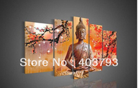 5 Panel Wall Art Religion Buddha Oil Painting On Canvas Modern Decorative Modern oil Paintings Free shipping