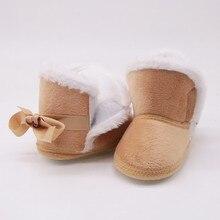Теплые флисовые зимние сапоги с бантом для маленьких девочек и мальчиков; нескользящие ботиночки для детей 0-18 месяцев