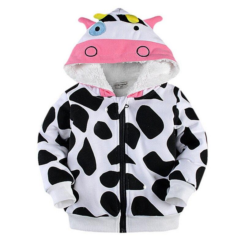 Toddler Bebek Erkek Kız Artı Kadife Karikatür Fermuar Kapüşonlu Ceket Sonbahar Kış Sıcak Sevimli Kalınlaşma Ceket Çocuk Çocuklar Giysi