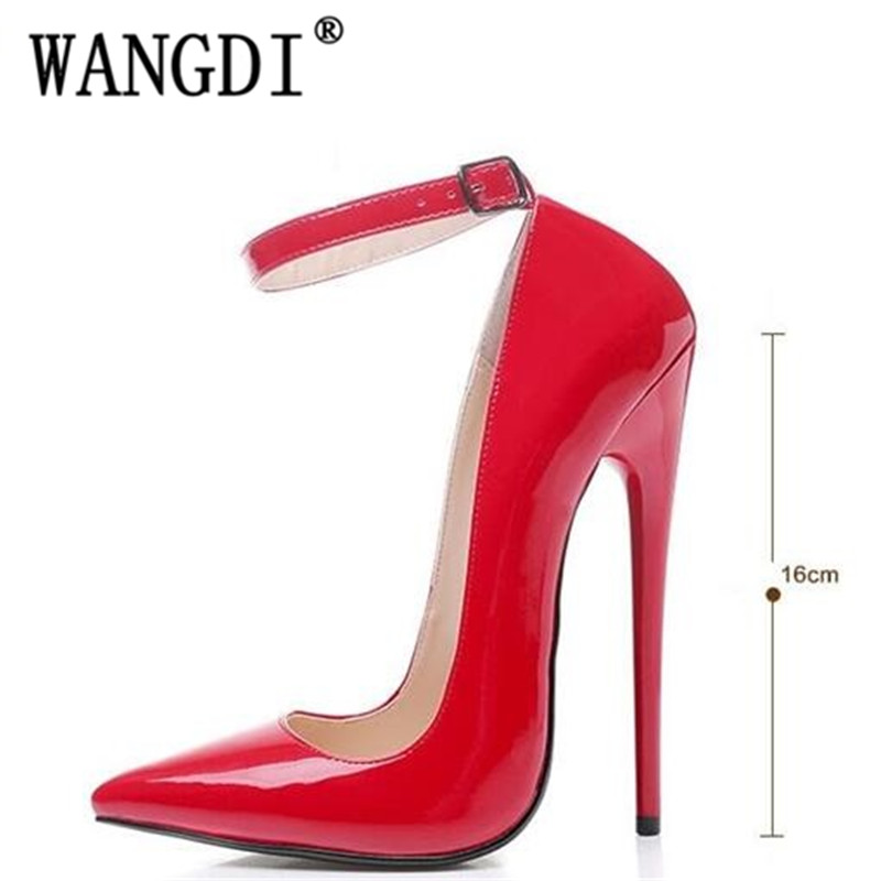 Women Shoes Pumps Sexy Word Buckle Super High Heel 14/16 cm Heel Big yards Shoes Patent Leather Pointed Shoes Large-size 35-45