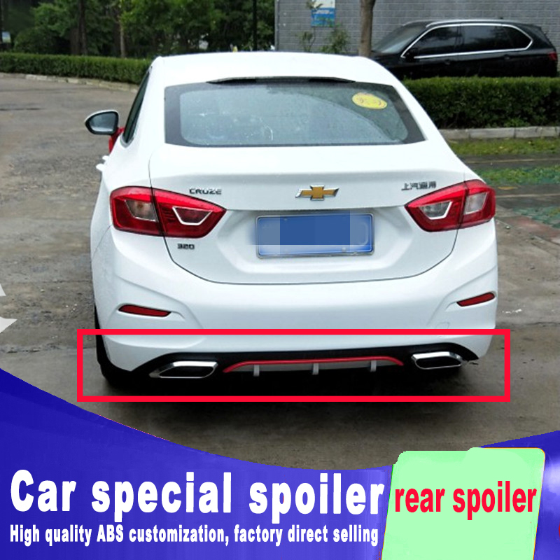 For Chevrolet Cruze 2008-14 Car Rear Black Diffuser Lip Spoiler Double Exhaust