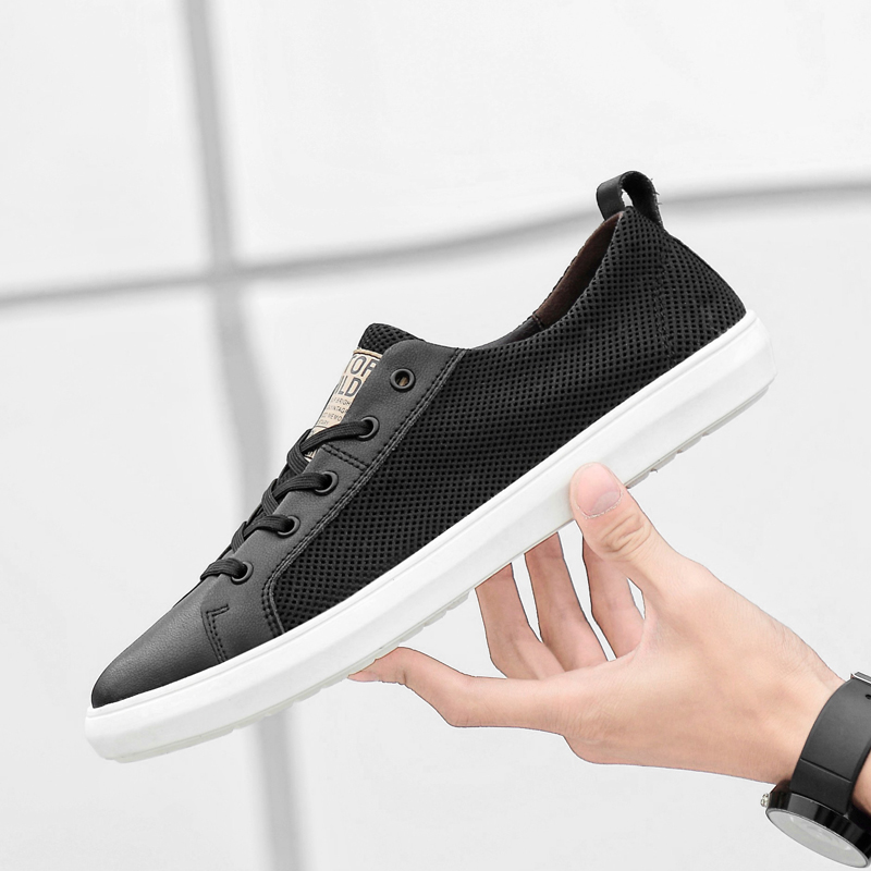 Men Casual Shoes outdoor genuine Leather Sneakers High Quality lace up breathable summer Foorwear Shoes Rubber Outsole shoes l5