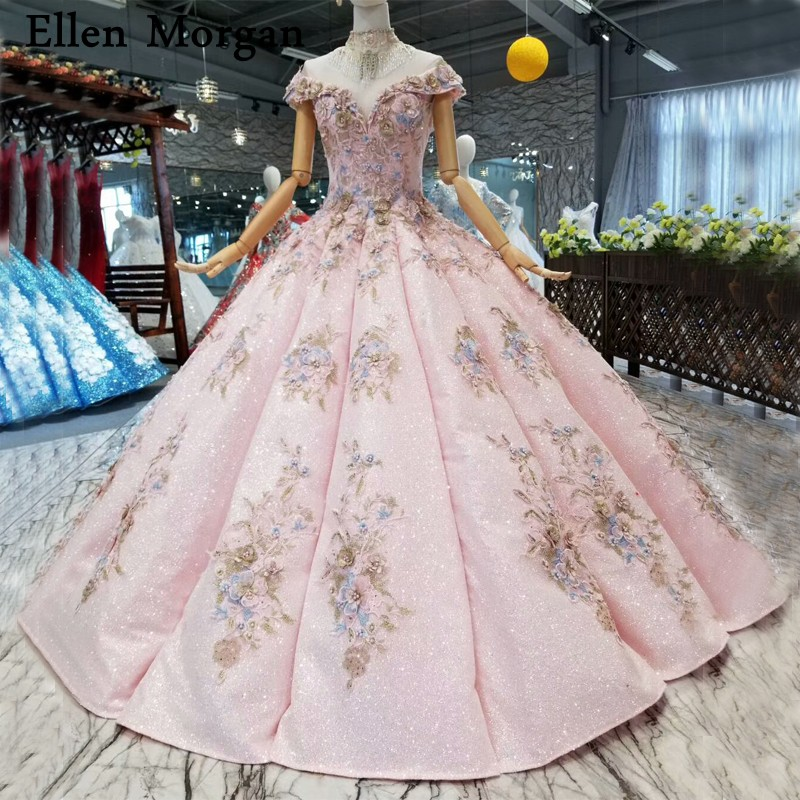 fe1f2292e39 Pink Glitter Fabric Lace Ball Gowns Wedding Dresses 2019 Custom Made Real  Photos Corset 3D Flowers Pearls for Women Bridal Gowns