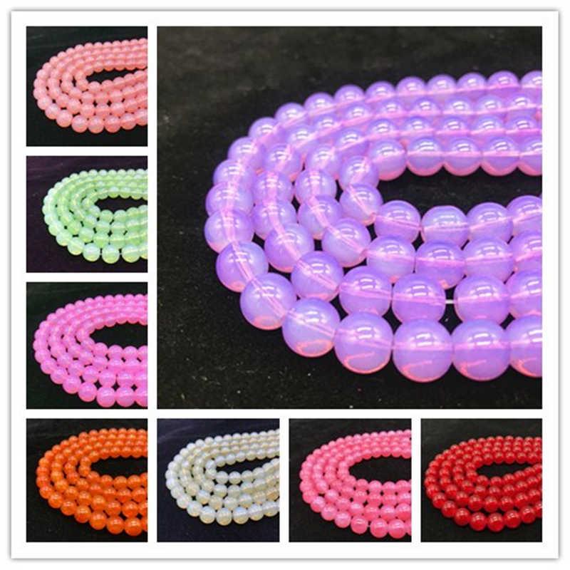 6/8/10mm 50/30/20 pçs/lote Contas Contas de material Translúcido Geléia beads Serve para Handmade DIY Fazer Jóias Colar