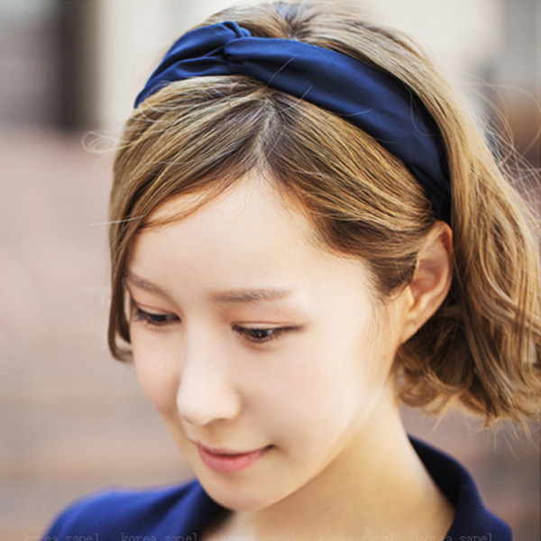 Han edition hair headwear Pure color silk elastic bow hair with hair band Cross wide scarf south korea han edition tire hair accessories fashion version of wrong layer tassel wide set auger flannelette hair band
