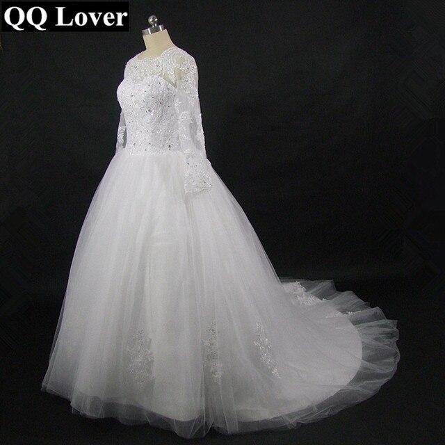 QQ Lover Vestido De Novia 2017 Long Sleeve High Neck Wedding Dress Robe De Mariage Romantic Wedding Gowns