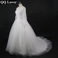QQ Lover Vestido De Novia 2018 Long Sleeve High Neck Wedding Dress Robe De Mariage Romantic
