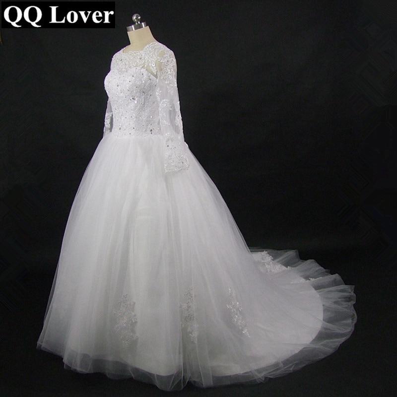 Vestido De noiva 2016 vestidos De casamento tubo superior luxuoso manga comprida Lace Vestido De noiva 2016 Vestido De casamento Robe De Mariage