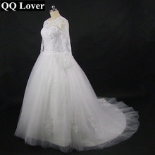 QQ Lover Vestido De Novia 2019 Long Sleeve High Neck Wedding Dress Robe De Mariage Romantic