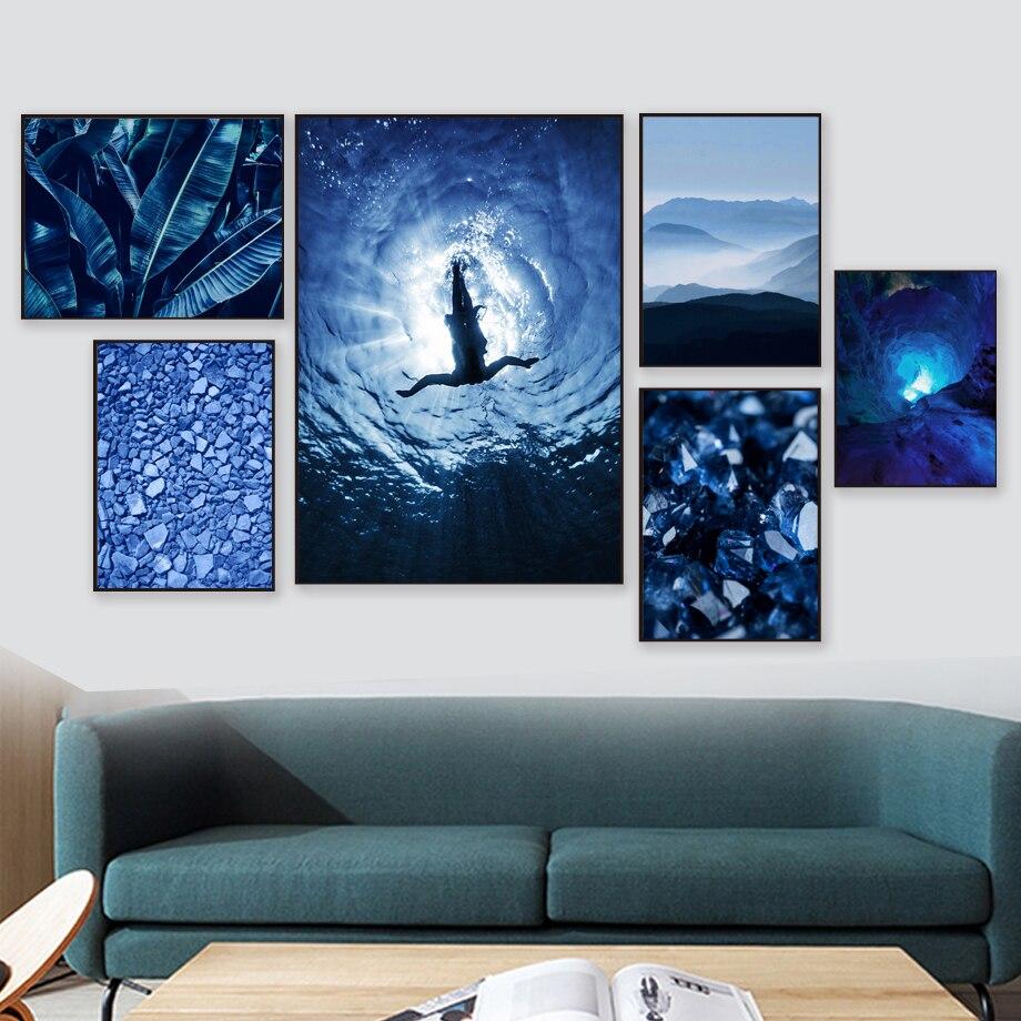 Девушка Дайвинг синий кристалл пещера банан лист стены искусства холст картина скандинавские плакаты и принты настенные картинки для декора гостиной Рисование и каллиграфия      АлиЭкспресс