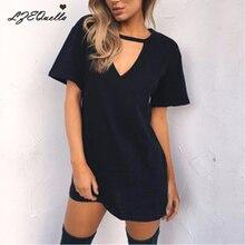 S-3XL, женское однотонное платье, модное мини-платье с коротким рукавом и v-образным вырезом, 11 цветов, открытая Женская хлопковая одежда, уличная одежда
