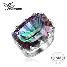 Jewelrypalae Solid 925 Sterling Silver Gems Stone 23ct Genuine Rainbow Fire Mystic Topaz Ring Size 6 7 8 9 Women Fine Jewelry