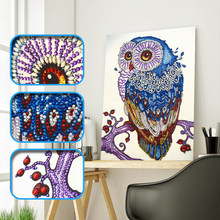 5D DIY Special Shaped Diamond Painting Cross stitch Diamond Embroidery owl Animals Picture Of Rhinestones Home Decor wall Decor(China)