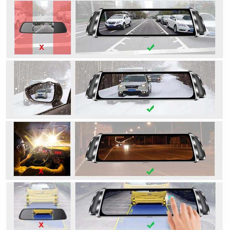 """10 """"Media Stream DVR Carro FHD IPS Tela de Toque Traço Cam Espelho Retrovisor do carro Gravador de Vídeo Digital de Lente Dupla espelho de carro câmera"""