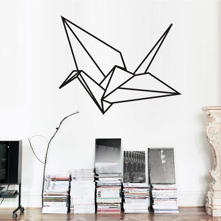 Geometric paper crane wall sticker for kids room modern for Geometric wall art diy