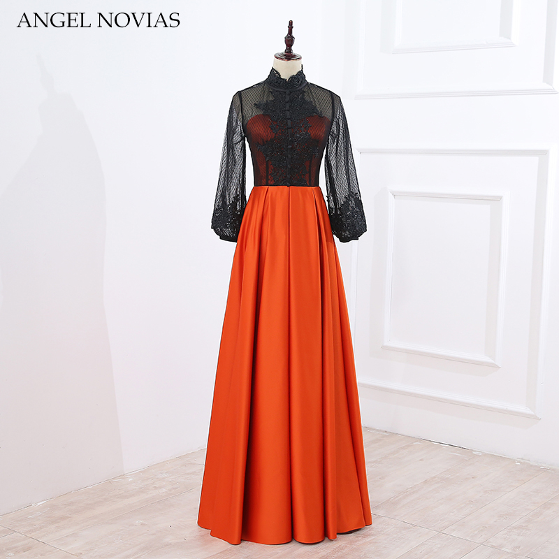 ANGEL NOVIAS Long Sleeves High Neck Orange Evening Dresses 2018 Moroccan Evening Gowns Women Vestido de Noche