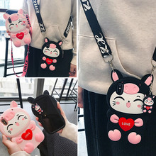 cute luck cat strap silicone phone case for iphone 7 8 plus XS MAX XR cartoon soft back cover for iphone 6s 6 plus case shell ziqiao cute cartoon cat shaped protective soft silicone back case for iphone 4 4s red blue