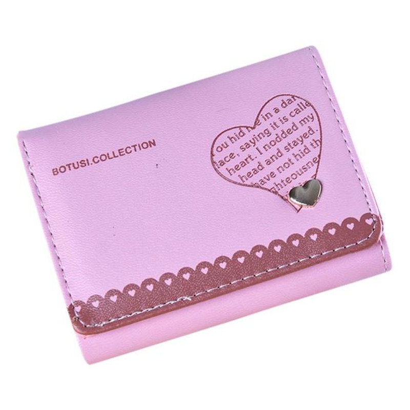 Women's Purse Ladies Wallet Clutch Heart Short Credit ID Card Holder Hasp Bifold Soft Leather Handbag Carteira Portefeuille Gift casual weaving design card holder handbag hasp wallet for women