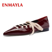 ENMAYLA  Pointed Toe Lace-Up Solid Casual Ladies Shoes Flats Women Size 34-39 ZYL2279
