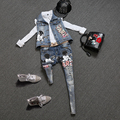 De alta calidad de las mujeres apliques bordados de mezclilla chaleco roca geek jeans pantalones de mezclilla de la ropa overoles pantalones trajes NZ23