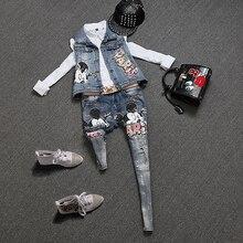 High quality women appliques embroidery denim vest rock geek jeans pants denim clothing set overalls pants suits NZ23