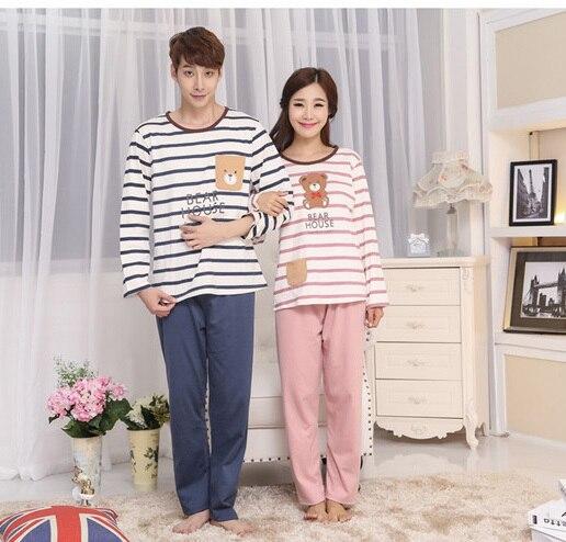 23c8c85b80 Spring Autumn Print Bear Cute Couple Pajama sets Lovely Sweet Onesie  Nightwear Home Clothes Sleep   Lounge